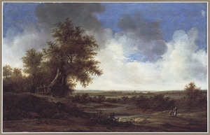 Uitgestrekt landschap met grote boom links