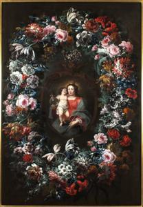 Bloemguirlande rond een cartouche met Maria en kind