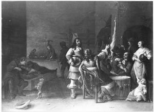 Kaartende, pratende en musicerende soldaten in een wachtlokaal