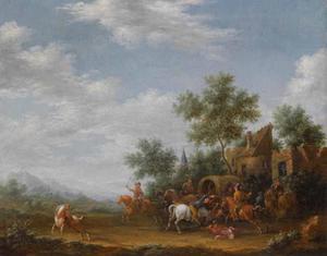 Landschap met reizigers die worden overvallen buiten een dorp