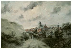 Landschap met dorp aan zee