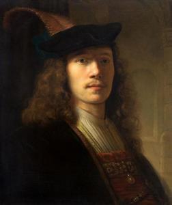 Borststuk van een man met baret met pluim