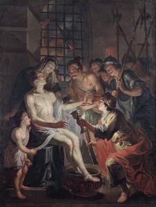 De dood van Seneca: hij opent zich de aderen in zijn been en drinkt de gifbeker