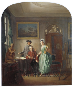 Familieportret van Nicolaas Muys (1740-1808), Robert Muys (1742-1825) en Cornelia Muys (1744-1821)