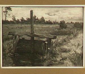 Weidelandschap met houten sluis
