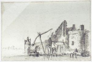 Versterkte stadsmuur aan het water met het ontladen van een bootje