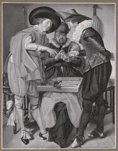 Drie heren spelen triktrak