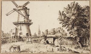 Windmolen bij de Loosduinse Brug in Den Haag