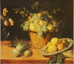 Stilleven met vruchten in een mand, citroenen op een Wan Li-schotel, asperges en een vaasje met bloemen