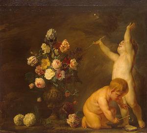 Vaas met bloemen, met twee naakte bellen blazende kinderen