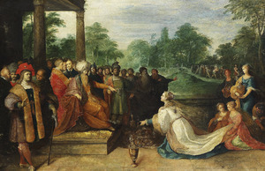 Salomo ontvangt de koningin van Seba (1 Koningen 10:1-2)