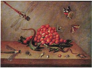 Aardbeien op een houten blad, met hagedissen en insecten