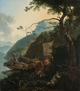 Schippers met hun boten aan de oever van een Italiaans meer