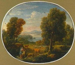 Italiaans landschap met fluitspelende herder