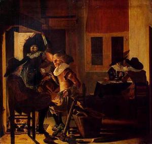 Rokende, drinkende en converserende mannen bij een haardvuur