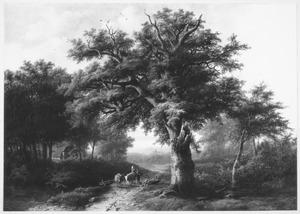 Boslandschap met boerenpaar en vee