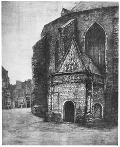 Het portaal van de oude Sint Bavokerk te Haarlem