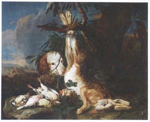 Jachtbuit van haas en gevogelte met jachthond