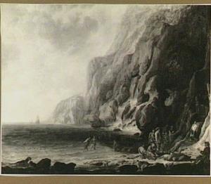Kustlandschap met foeragerende zeelieden