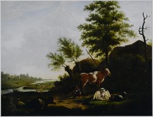 Rivierlandschap met vee bij een boerderij