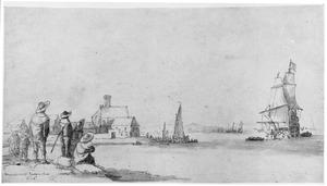 Groep figuren kijkend naar rivierlandschap