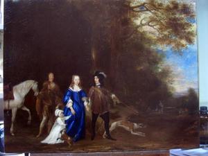 Portret van Hendrick de Sandra (1619-1707), Margaretha Tortarolis (1627-1681) en Anna Maria de Sandra (1647-1681)