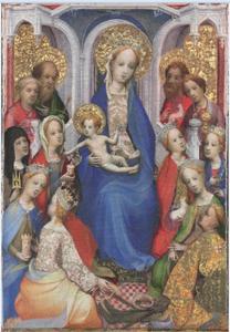 Maria en kind gezeten op een troon, met HH. Paulus, Petrus, Clara van Assisi, Maria Magdalena, Barbara, Catherina van Alexandrië, Johannes de Doper, Johannes de Evangelist, Agnes, Cecilia, Margaretha van Antiochië en Joris