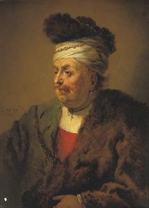 Portret van een onbekende man met een tulband en mantel van bont