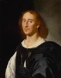 Portret van een man in een donkerpaars wambuis en een wit hemd