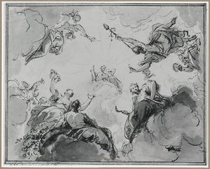 Apollo met Mommus (de Winter),  Flora (de Lente), Ceres (de Zomer) en Bacchus (de Herfst)