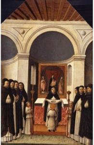 Aankleden van Sint Petrus de martelaar bij zijn intrede in de Domonicaner orde
