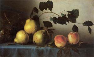 Stilleven met peren, druiven en perziken