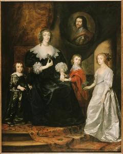 Portret van de weduwe van de Hertog van Buckingham en haar kinderen