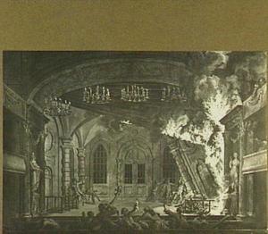 Amsterdam, het begin van de brand in de Stadsschouwburg op 11 mei 1772