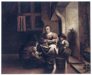 Keukeninterieur met een zittende vrouw en twee kinderen