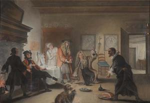 Scène uit de klucht De wiskunstenaars, of 't gevluchte juffertje van Pieter Langendijk uit 1715