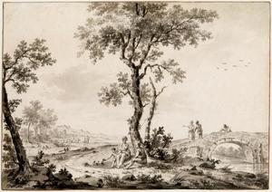 Arcadisch landschap met reizigers rustend bij een brug