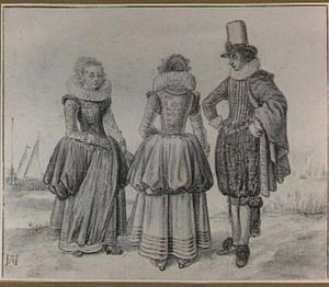 Drie rijk geklede figuren in een polderlandschap