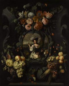 Cartouche versierd met bloemen en vruchten met daarin een portret van een vrouw in pastorale kleding