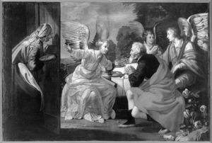 De engelen op bezoek bij Abraham voorzeggen Abraham wederom de geboorte van een zoon. Sara luistert  stiekem vol ongeloof toe (Genesis 18:8-13)