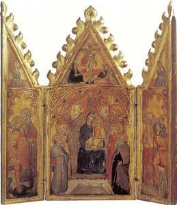 Drieluik met HH. Joris en Andreas, bovenin de engel van de Annunciatie (binnenzijde links); Maria met kind met HH. Fransciscus, Maria Magdalena, Lucia en Antonius Abt, bovenin de kruisiging (midden); HH. Nicolaas en Christoforus, bovenin Maria van de Annunciatie (binnenzijde rechts)