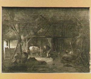 Interieur van een stal met een koe en twee boeren