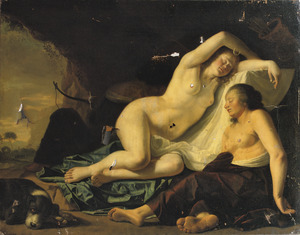 De godin Diana en een nimf slapend na de jacht in een grot