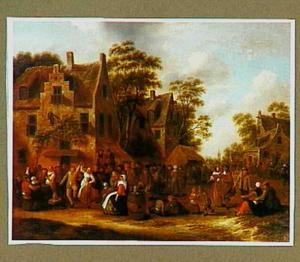 Gezicht in een dorp tijdens een kermis