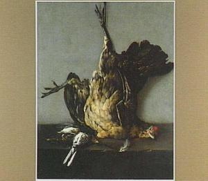 Stilleven met opgehangen dode kip en dode vogeltjes op een natuurstenen plint