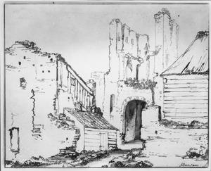 Ruïne van de poort van kasteel Brederode, gezien vanuit het westen