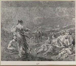 Jupiter op de berg Ida, door de geit Amalthea gevoed (Fasti 5:121-124)