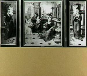 Drieluik met de H. Catharina (links), de H. Familie (midden) en de H. Barbara (rechts)