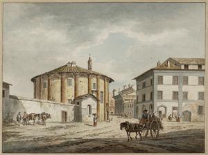 Rome, Santa Maria del Sole (tempel van Hercules Victor), Santa Maria Egiziaca (tempel van de Fortuna Virilis) en het Huis van Pilatus