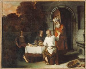 Abraham ontvangt de drie engelen aan tafel (Genesis 18:8-9)